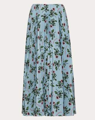 Valentino Undercover Print Pleated Crepe De Chine Skirt Women Light Blue Silk 100% 40