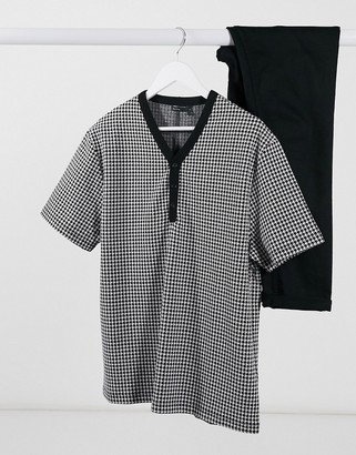 ASOS DESIGN oversized t-shirt in all over dogtooth jersey jacquard and Y button neck