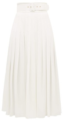 Emilia Wickstead Pris High-rise Belted Georgette Skirt - Womens - White