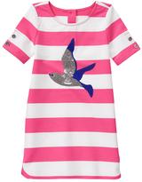 Gymboree Pink & White Stripe Bird Sequin Embroidery Shift Dress - Girls