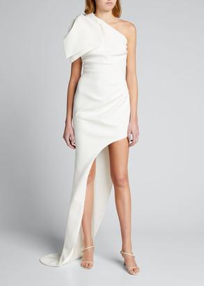 Bronx and Banco Stella Bow-Shoulder Asymmetrical Gown