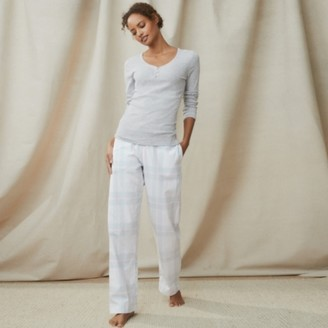 The White Company Brushed Cotton Blue Check Pyjama Bottoms, Blue Check, Extra Small