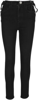Alessandra Rich Lace-Up Skinny Denim Jeans