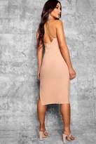 boohoo Ella Strappy Cross Back Thigh Split Midi Dress