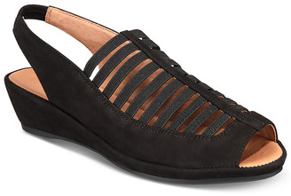 Gentle Souls by Kenneth Cole Women's Sandals BLACK - Black Lee Leather Slingback Wedge - Women