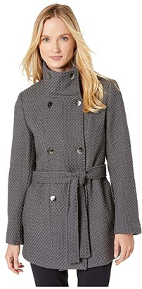 Calvin Klein Double Breasted Peacoat with Detachable Belt (Mechanical Gray) Women's Coat