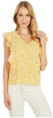 BB Dakota All The Frills 'Shadow Floral' Print Bubble Crepe Top (Lemon Drop) Women's Clothing
