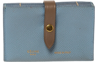 Celine Dusty Blue Grained Leather Accordeon Card Holder