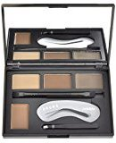 CIBBCCI 4 Colors Eyebrow Powder Kit with Stencils Shaping Kit and Double Sided Brush Tweezer Set, Eyebrow Tinting Color Makeup Palette, 0.44Ounces