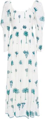 Antik Batik Shirred Printed Cotton-voile Maxi Dress