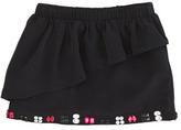 Milly Minis Cascade Ruffle Miniskirt, Black, Sizes 8-10