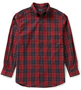 Roundtree & Yorke Casuals Long-Sleeve Flannel Buffalo Plaid Sportshirt