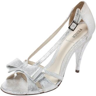 Fendi Silver Foil Leather Bow Detail Ankle Strap Sandals Size 37.5
