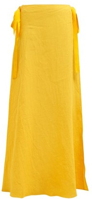 Marios Schwab On The Island By Nevis Side-tie Linen-poplin Maxi Skirt - Womens - Yellow