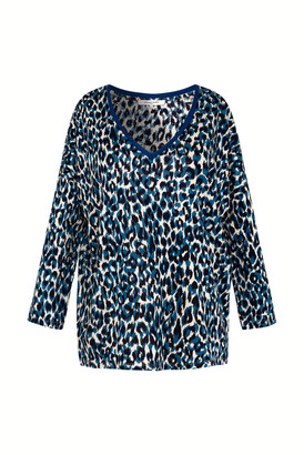 Gerard Darel Long Sleeve Animal Print Linen T-shirt