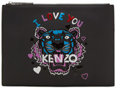 Kenzo Black Limited Edition 'Tiger x I Love You' A4 Pouch