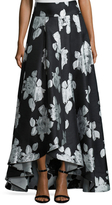 St. John Floral Pleated High Low Skirt