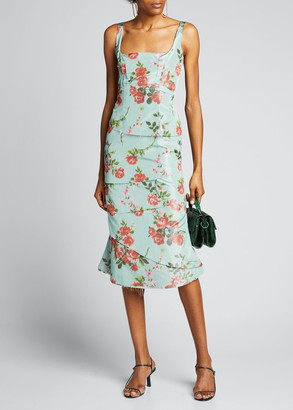 Brock Collection Floral Poly/Silk Scoop-Neck Ruffle Dress