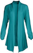 Lily Women's Open Cardigans TRQ - Turquoise Pointed-Hem Open Cardigan - Women & Plus