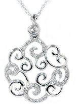 Pompeii3 Inc. 1/4ct Fancy Womens REAL Diamond Necklace Pendant Unique Modern 14K White Gold