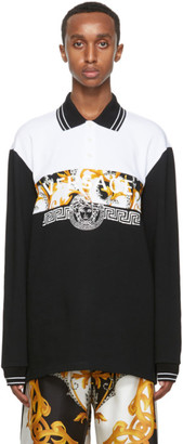 Versace Black and Gold Vintage Logo Long Sleeve Polo