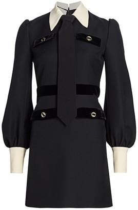 Gucci Cady Crepe Contrast Collar Velvet-Trim Wool & Silk A-Line Dress