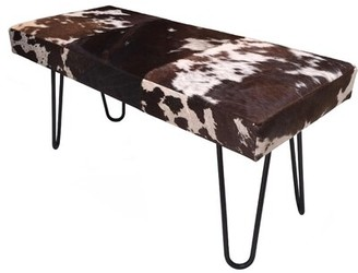 Cowhide Upholstered Bench Foundry Select