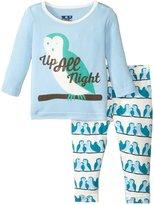Kickee Pants Print Pajama Set (Baby) - Snowy Owls - 3-6 Months