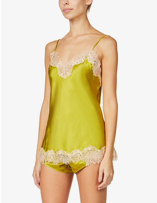Sainted Sisters Scarlett floral lace-trim silk camisole
