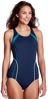 Lands' End Women's Petite AquaFitness Butterfly Scoop One Piece Swimsuit with Tummy Control
