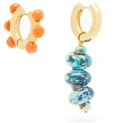 Timeless Pearly - Mismatched Beaded Gold-plated Earrings - Womens - Orange Multi