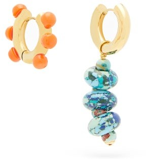 Timeless Pearly Mismatched Beaded Gold-plated Earrings - Orange Multi