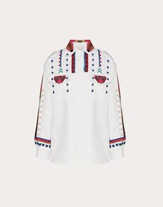 Valentino Embroidered Gabardine Pea Coat Women White 100% Cotone 36