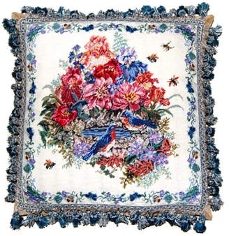 Petit Point Hkh International Birds and Flowers Pillow