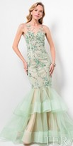 Terani Couture Illusion Sweetheart Floral Tiered Mermaid Gown