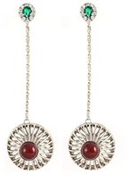 Iosselliani Women's Brass Round Red Agate Cage Drop Earrings