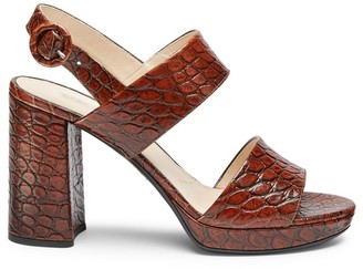 Prada Platform Croc-Embossed Leather Sandals