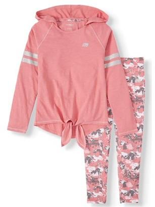Marika Long Sleeve Hooded Top and Printed Performance leggings, 2-Piece Active Set (Little Girls & Big Girls)