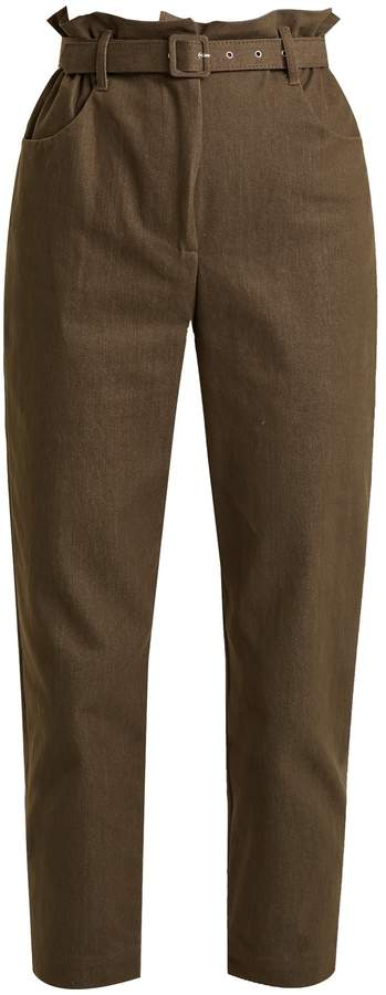 Isa Arfen Paperbag-waist broderie-anglaise trimmed trousers