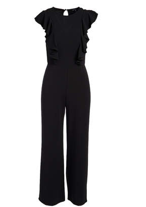 Ash Max + Women's Jumpsuits black - Black Ruffle Keyhole-Back Jumpsuit - Women