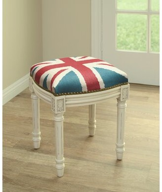 Charlton Homeâ® Holeman Britannia Linen Upholstered Vanity Stool with Nailhead Charlton HomeA Color: Antique White