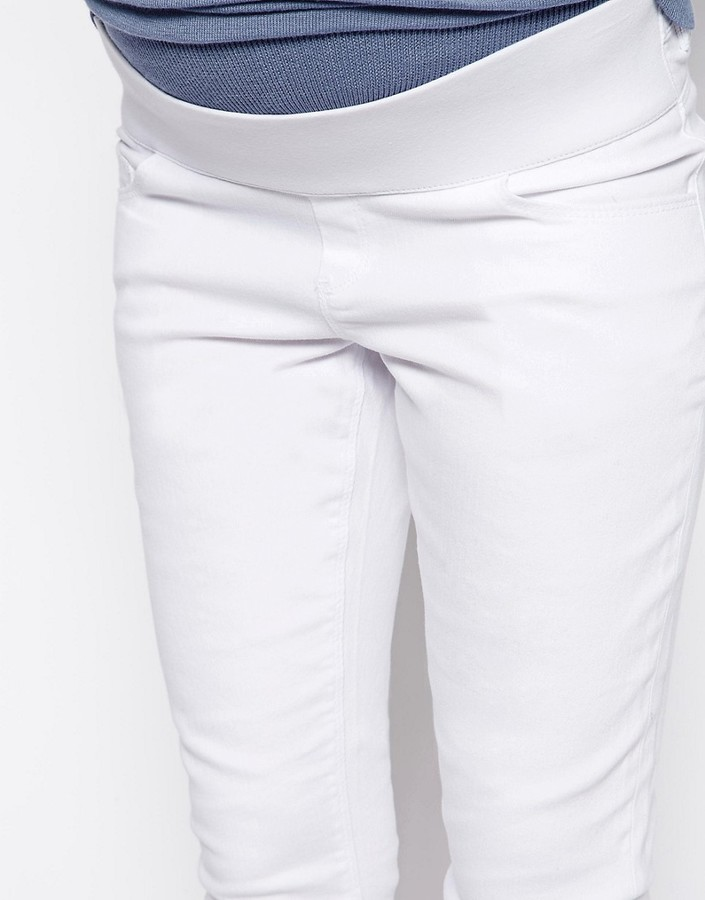 Asos PETITE Ridley Skinny Jean In White With Under The Bump Waistband
