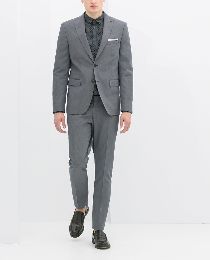 Zara Micro-Knit Blue Suit