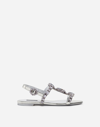 Dolce & Gabbana Mirrored Calfskin Sandals With Embroidery