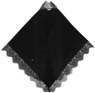 Twin-Set Lace-Trimmed Knitted Scarf