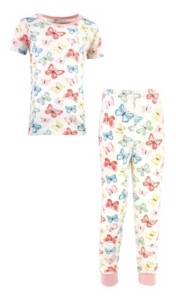 Touched by Nature Big Girls and Boys Butterflies Tight-Fit Pajama Set, Pack of 2