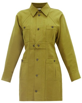 Mara Hoffman Ino Panelled Linen-blend Canvas Shirt Dress - Dark Green