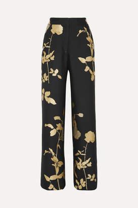 Dries Van Noten Metallic Floral-jacquard Wide-leg Pants - Black
