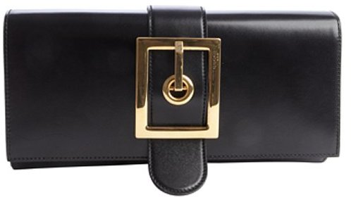Gucci black leather buckle clutch