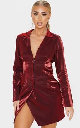PrettyLittleThing Champagne Metallic Long Sleeve Corset Panel Blazer Dress